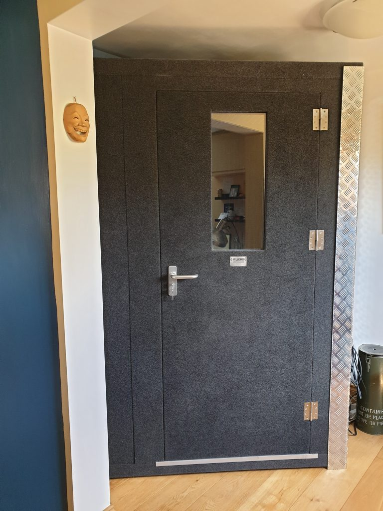 Image of the voiceover recording booth in my home studio