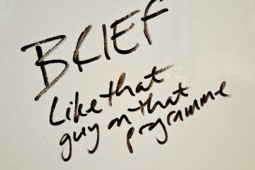Photograph of words on whiteboard: Brief - like that guy on that programme