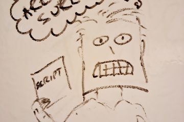 "Photograph whiteboard drawing: Voiceover artist holding script, with thought bubble ""Are you... sure?"""