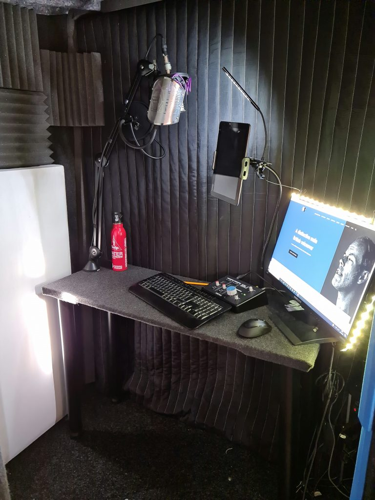 Voiceover booth interior photograph