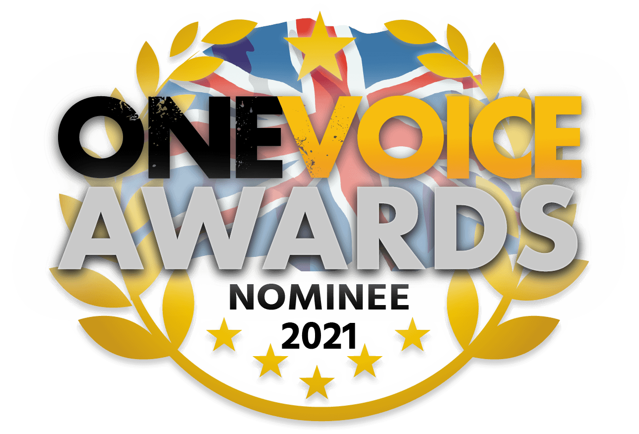 Graphic badge for voiceover awards finalists, with text reading: One Voice Awards Nominee 2021